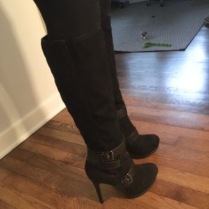 Guess Black Knee High Suede Heeled Boots